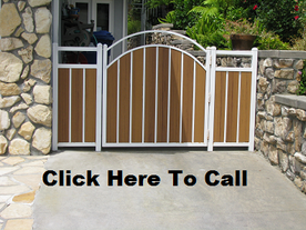 This double arched wrought iron gate and wood combination makes a beautiful entry for your home