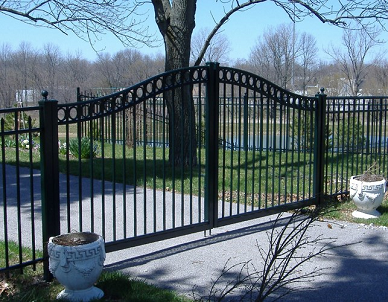 Double swing Alumi-guard aluminum gates are rust proof and will last you years. You can also attach a gate motor to them.