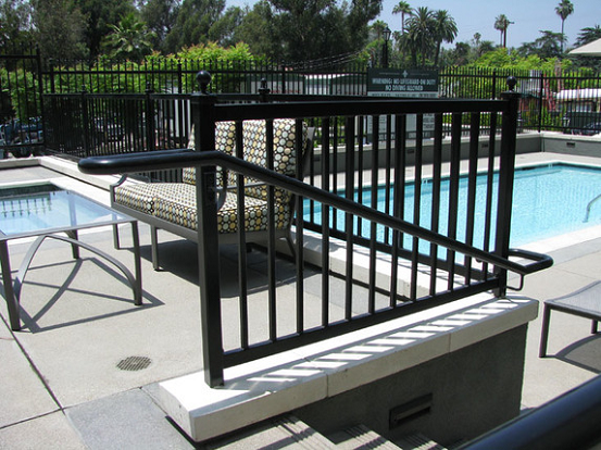 Handrails around the pool at an apartment complex on Melrose Blvd. in Los Angeles CA.