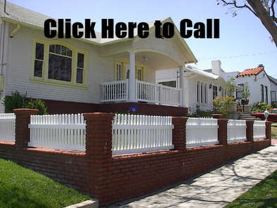 White vinyl picket fencing in San Pedro CA