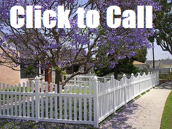 Arched vinyl picket fence creates a beautiful look in this Torrance CA home