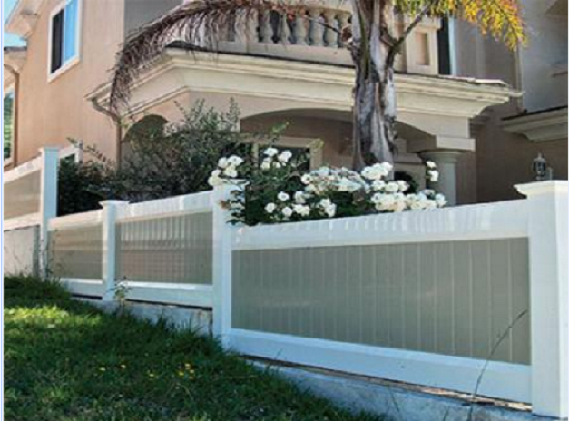 White and tan vinyl fence installed on a wall for privacy